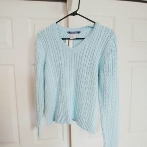 Baby blue cable sweater